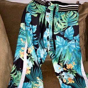 Boston Proper Midnight Palm Palazzo Pants Size L